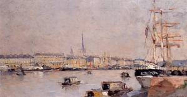 The Port of Rouen with Cathedral 1885 1890